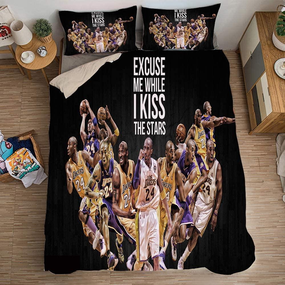 Wusan Twin Size Duvet Cover Set for Boys Teens Kobe Sports 24 3D Print Basketball Black Bedding Set