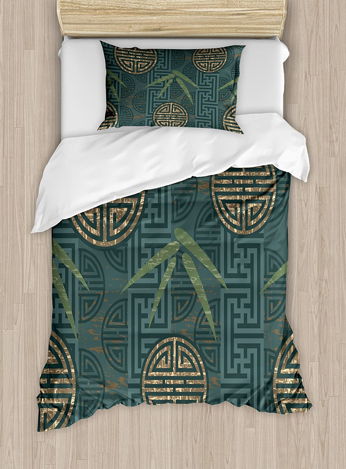 Ambesonne Bamboo Duvet Cover Set, Style Composition with Oriental Motifs Leaves Eastern Elements, Decorative 2 Piece Bedding Set with 1 Pillow Sham, Twin Size, Ivory Teal