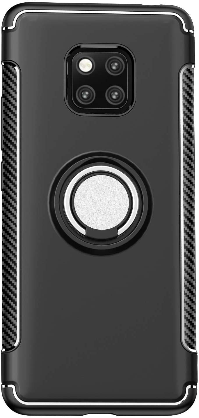 TIYA Case Black [Ring Armor Series] Protective Magnetic Carriage Cover for Huawei Mate 20 Pro