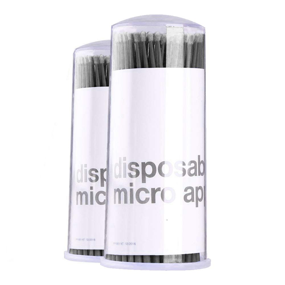 Amber Lash Disposable Micro Brushes Applicators for Eyelashes Extensions Lint-free 2mm x 200 ct (Black)