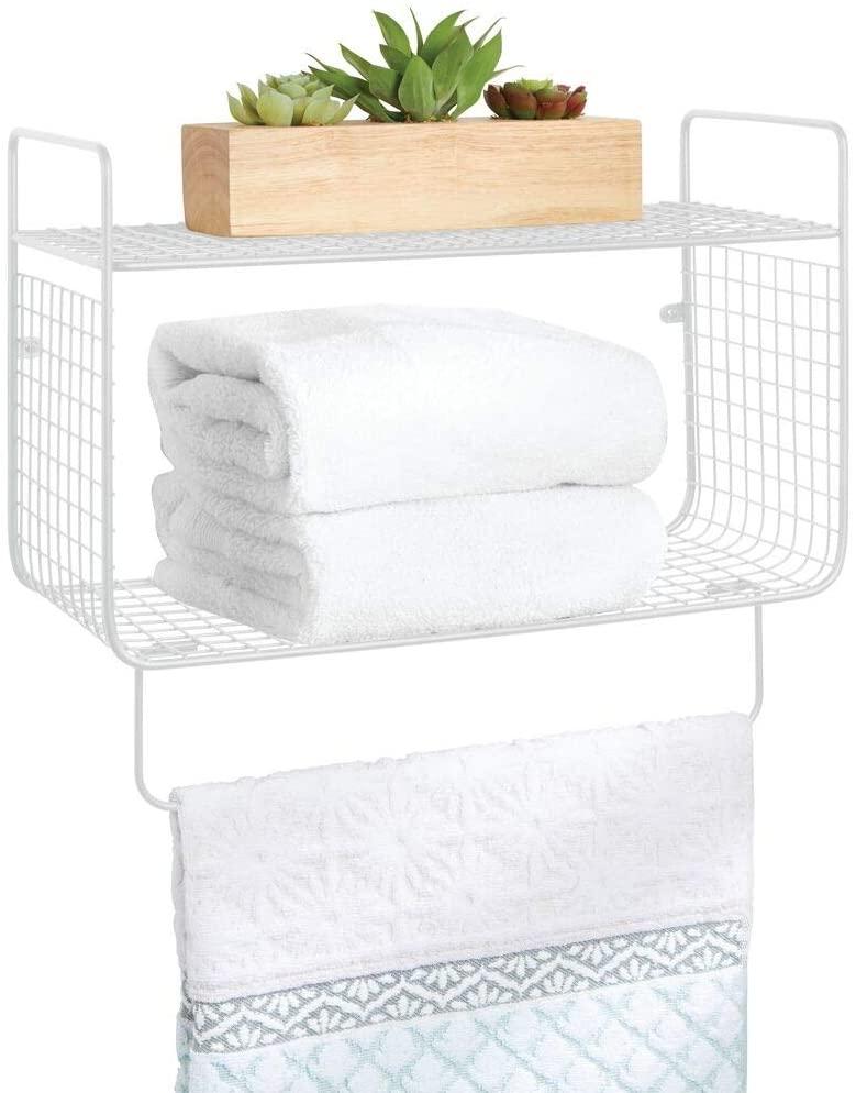 mDesign Metal Wire Farmhouse Wall Decor Storage Organizer 2 Tier Shelf with Towel Bar for Bathroom, Laundry Room, Kitchen, Garage - Wall Mount - White