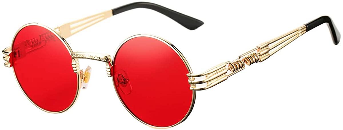 DeBuff Retro Round Steampunk Sunglasses John Lennon Hippie Glasses Metal Frame