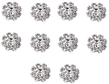 10pcs Round Rhinestone Diamante Crystal Embellishment 9 Diamantes with Large Center Diamante 12mm Really Sparkles (Clear)