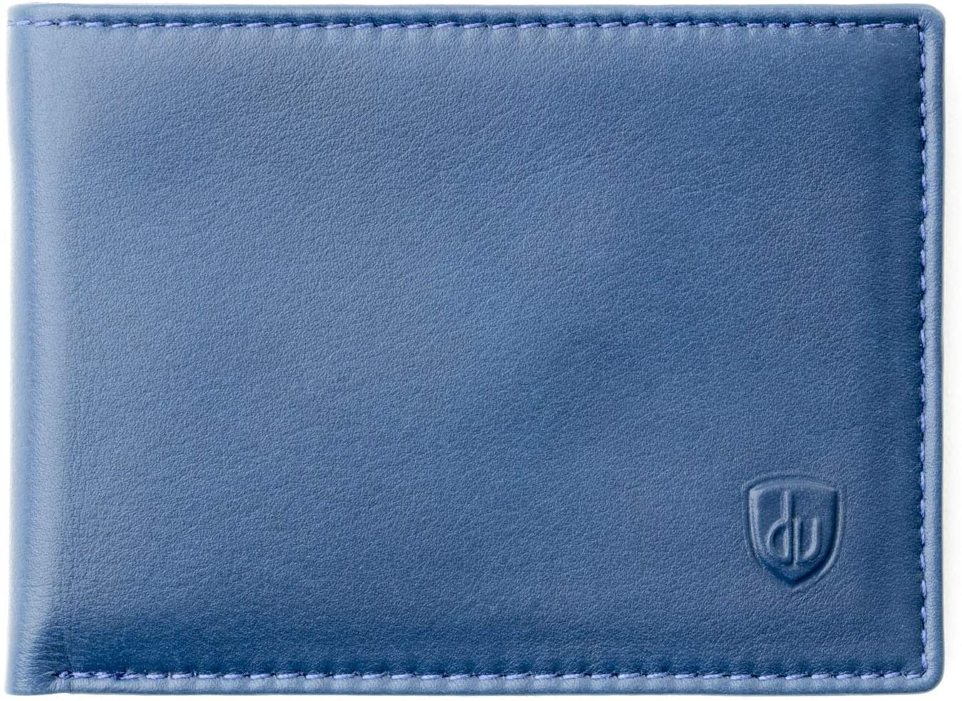 Small & light Mens wallet in Real Nappa Leather Card & Bill Holders Euro Dollars Money DV Blue