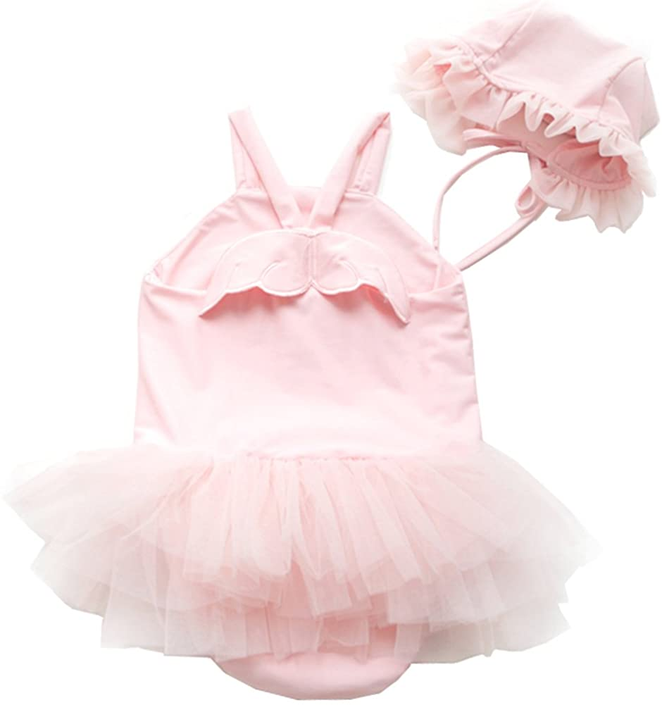 Baby Girl Swimwear and Hat 2 Pieces Set One-Piece Swimsuit Princess Skirt Cute Angel Wing Bathing Suit (Pink, 6-12Months)