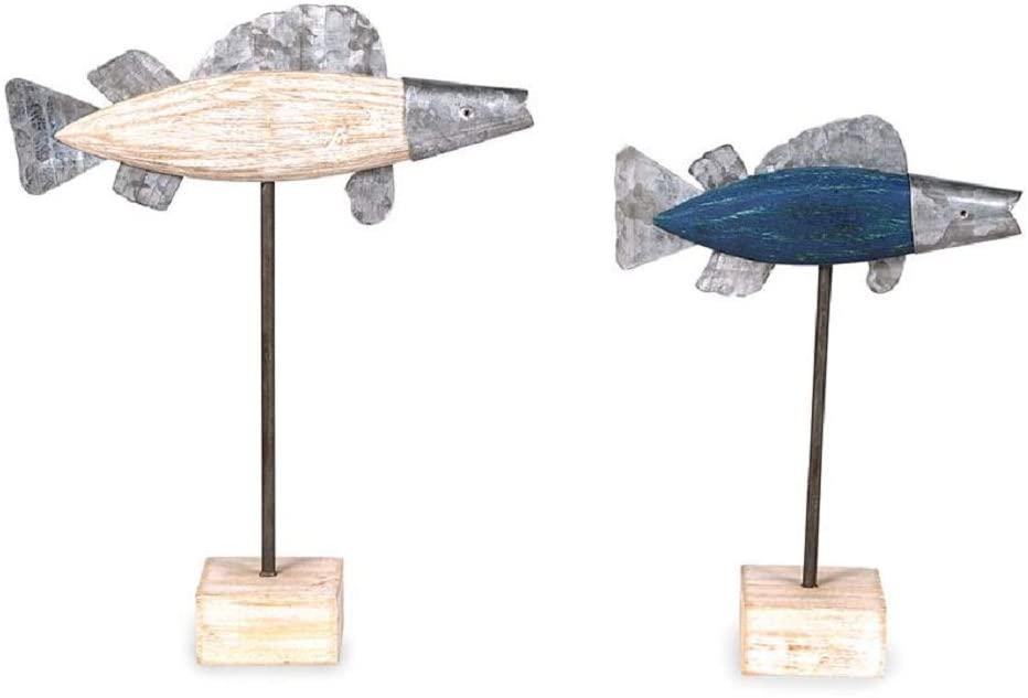 Mud Pie Wood and Tin Fish Sitter Set