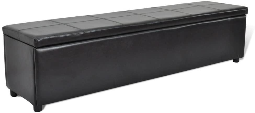 Festnight Large Size Storage Bench Ottoman, Faux Leather, White/Black