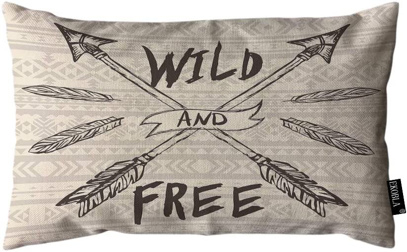 EKOBLA Throw Pillow Cover Wild and Free Arrows Feather Inspirational Quote Traditional Culture Tribe Art Rectangular Throw Pillow Covers for Couch Sofa Home Decor Cotton Linen 12x20 Inch