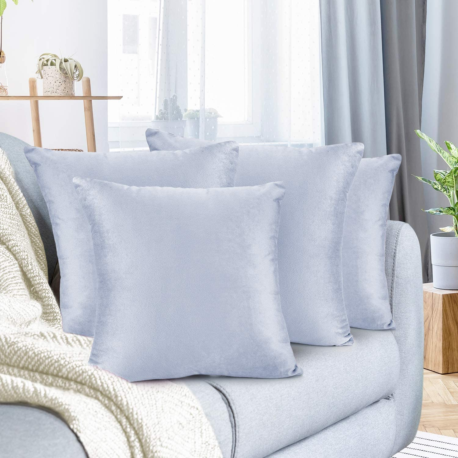 """Nestl Bedding Throw Pillow Cover 18"""" x 18"""" Soft Square Decorative Throw Pillow Covers Cozy Velvet Cushion Case for Sofa Couch Bedroom, Set of 4, Ice Blue"""