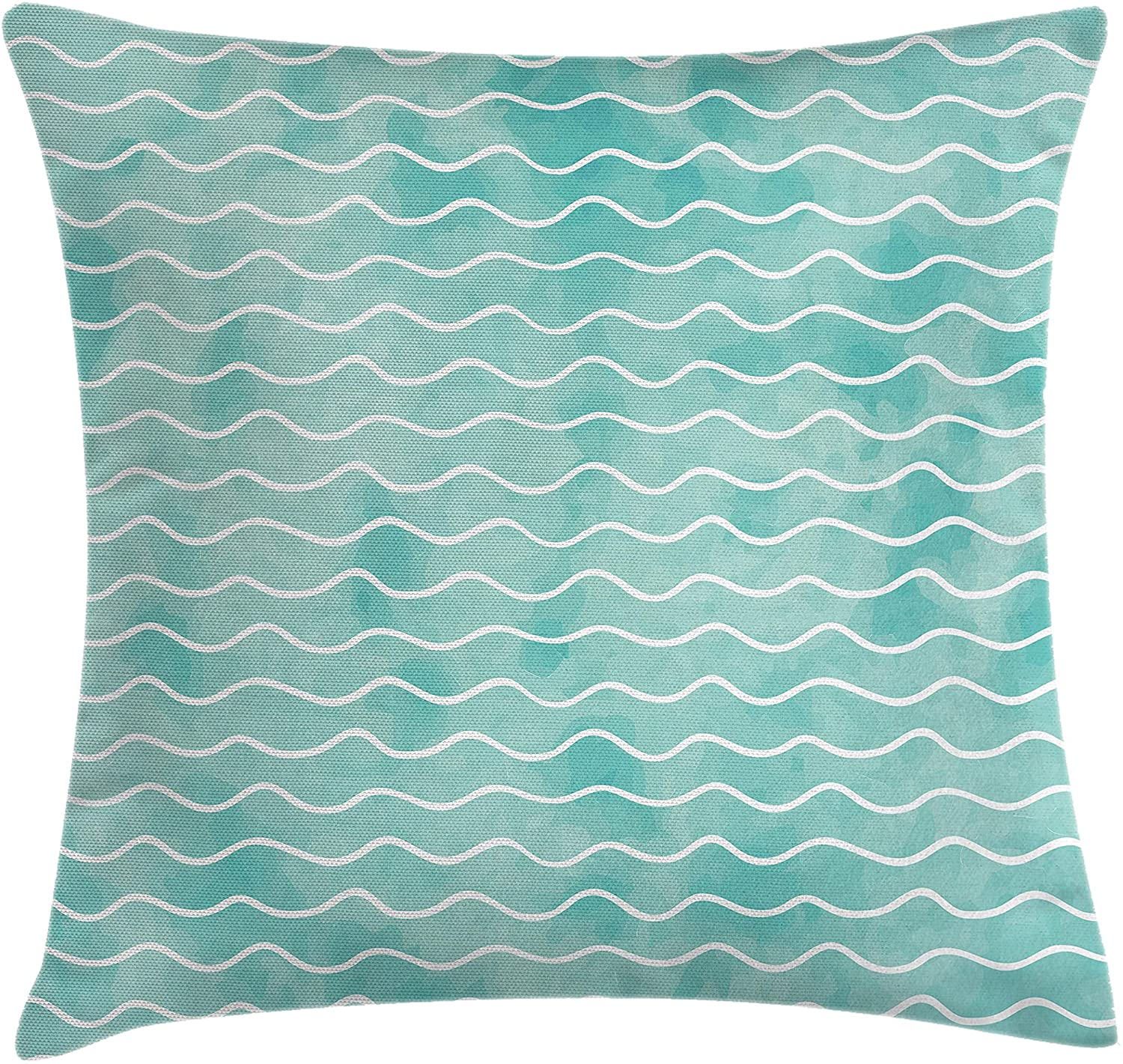 Ambesonne Nautical Throw Pillow Cushion Cover, Soft Pastel Colored Ocean Sea Waves Pattern Summer Vibes Inspired Graphic, Decorative Square Accent Pillow Case, 24 X 24, Orange