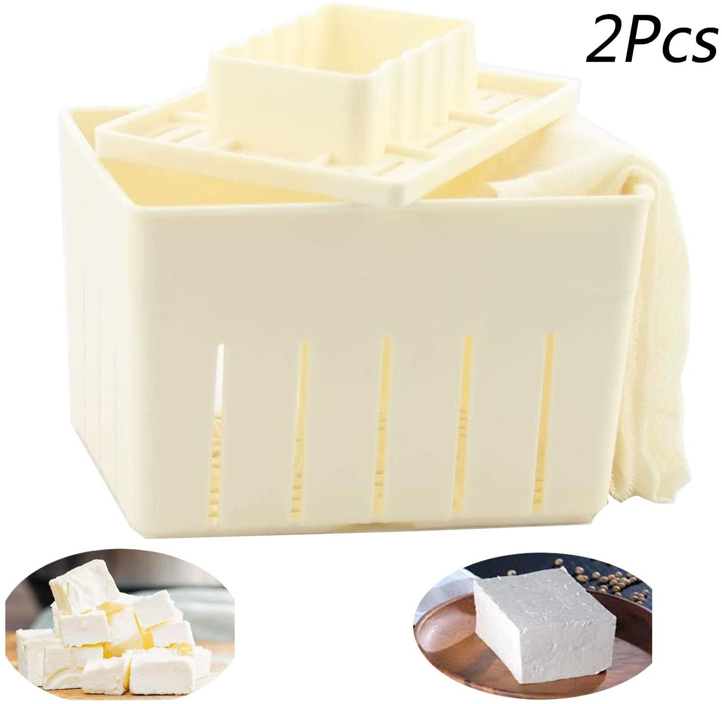 Tofu Press Mould 2PCS Plastic DIY Homemade Tofu Maker Pressing Mold Kit +Soybean Curd Cheese Cloth Kitchen Tools