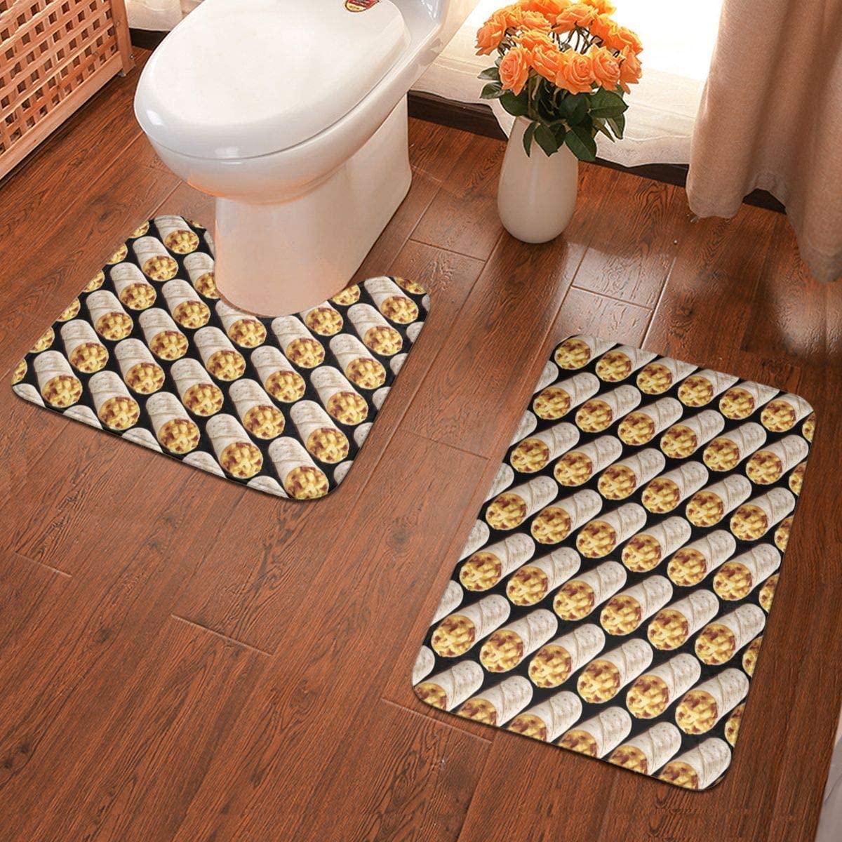 NiYoung Bathroom Rug Mats Set 2 Piece Anti-Skid Pads Bath Mat + Contour (Taco Burrito Pattern Black)