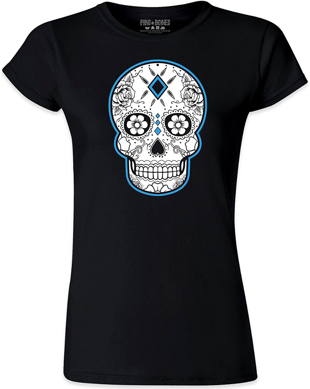 Pins & Bones Women's Dia De Los Muertos Sugar Skull Grey-Blue-Orange Cotton T-Shirt