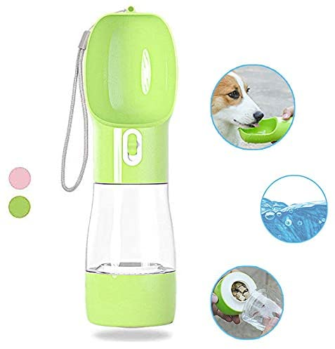 LucaSng Drink & Treat One Bottle Solution Portable Dog Bowl Water Bottle, Leak-Proof Food Grade Material
