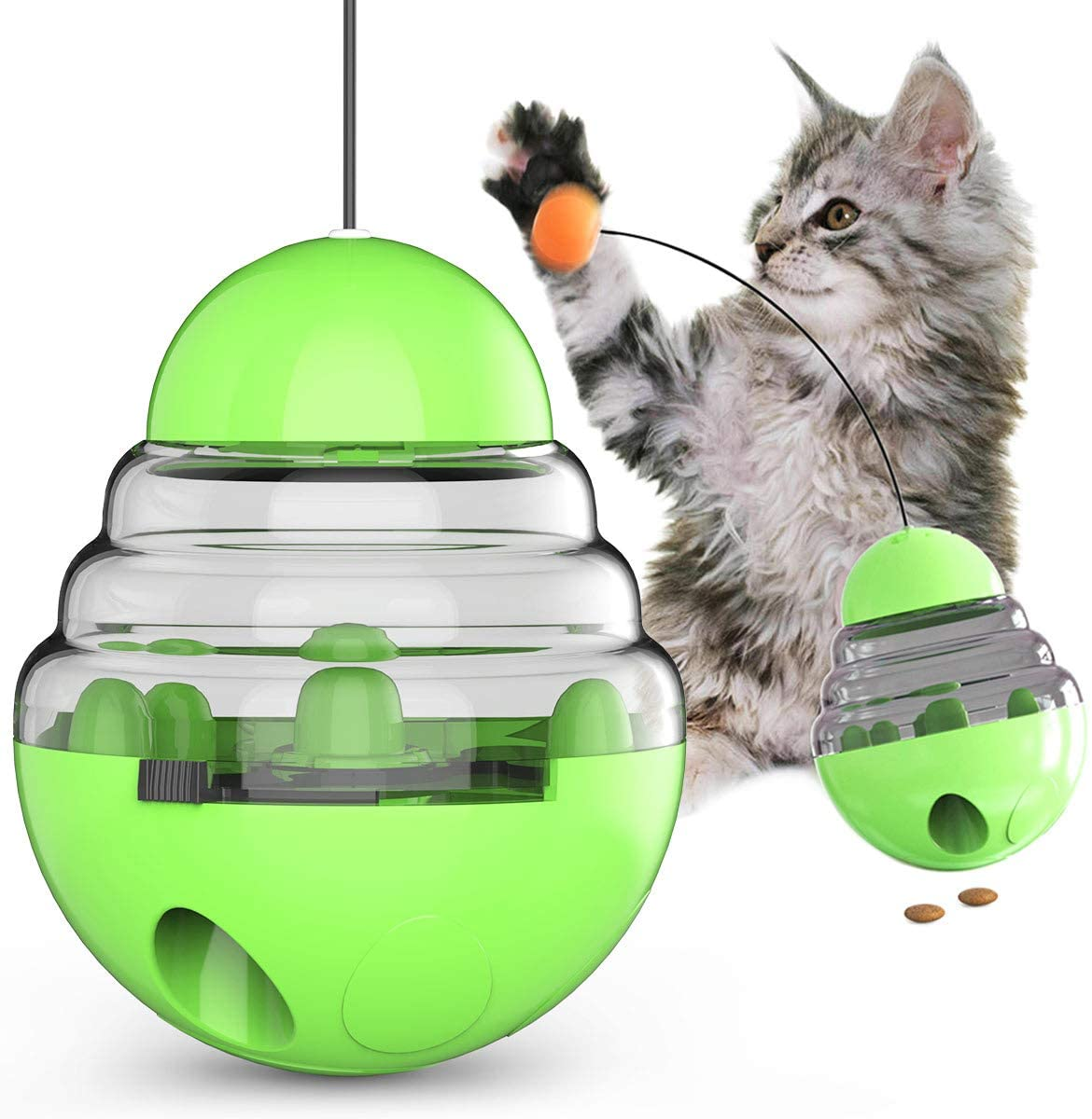 USWT Cat Toy Ball Cat Toys Interactive, Cat Food Dispensing Ball Cat Puzzle Toy Interactive with Tumbler Toy