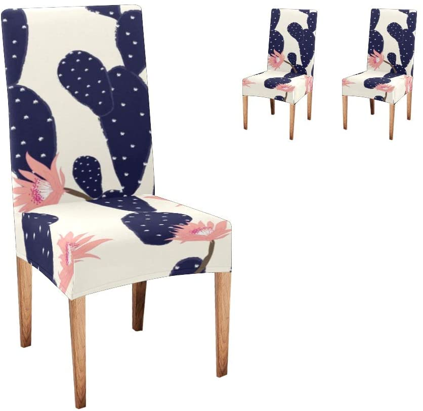 Anneunique CUXWEOT Chair Covers for Dining Room,Custom Navy Cactus Florals Protector Comfort Soft Seat Covers Slipcovers for Party Decor (Set of 2)