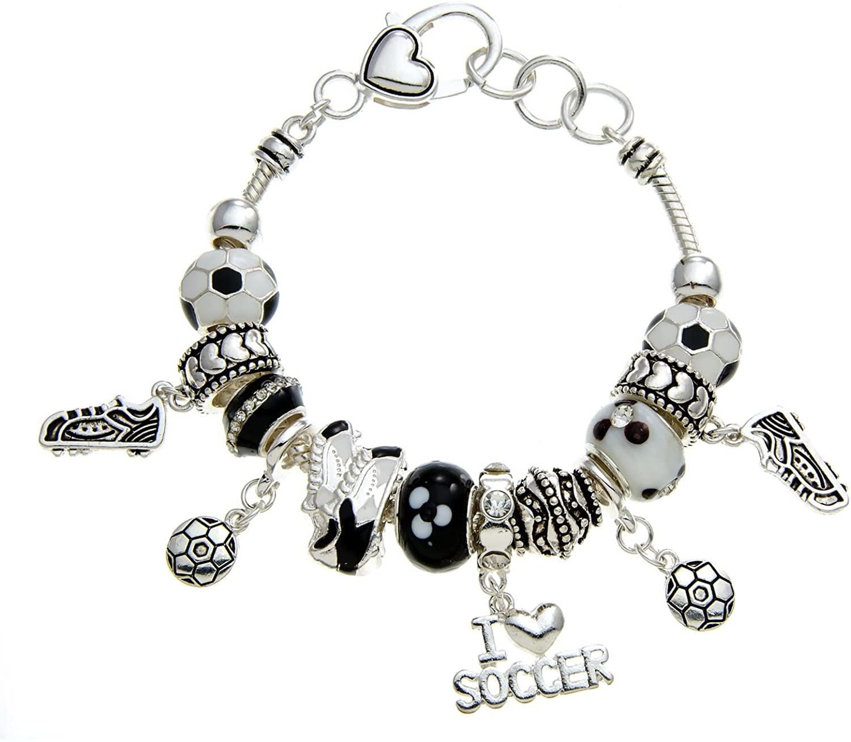 PammyJ Soccer Bracelet - Soccer Gift Charm Jewelry