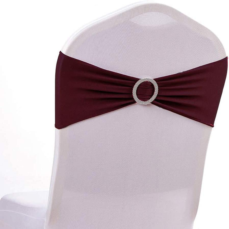 mds Pack of 1 Spandex Chair Sashes Bow sash Elastic Chair Bands Ties with Buckle for Wedding and Events Decoration Lycra Slider Sashes Bow - Burgundy