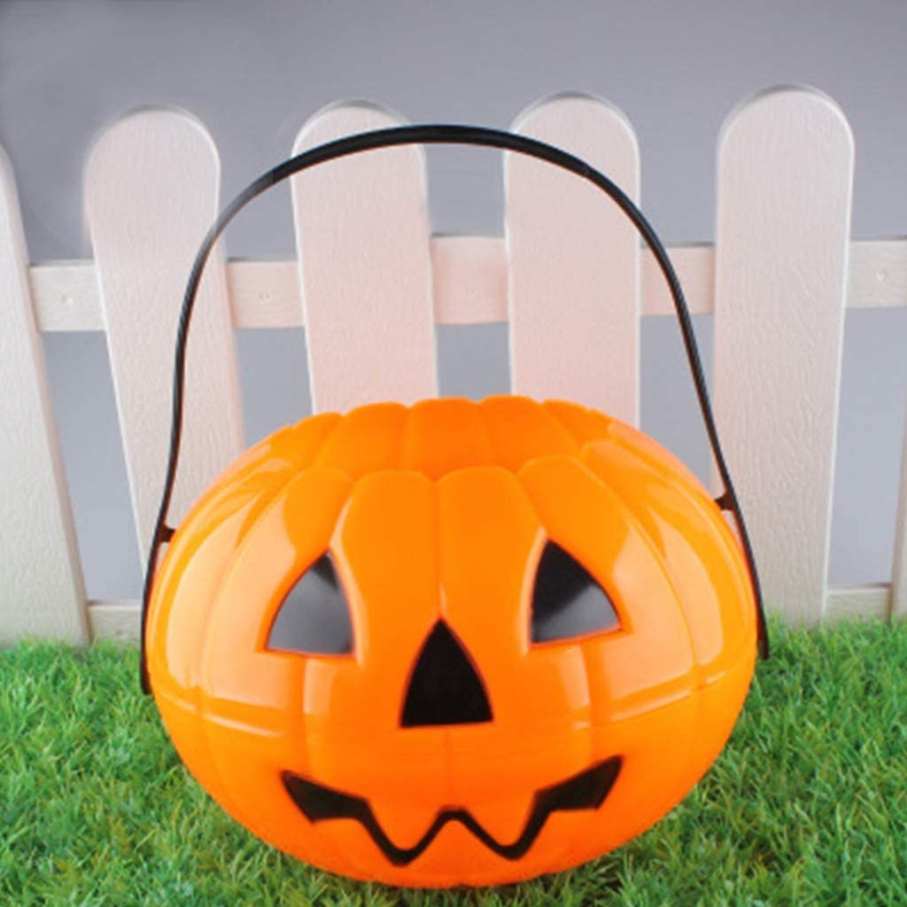 A-O Hlloween Foldable Decoration Pumpkin Bucket Large, Pumpkin Bucket Halloween Plastic Pumpkin Candy Pail for Kids Trick or Treat - Yellow