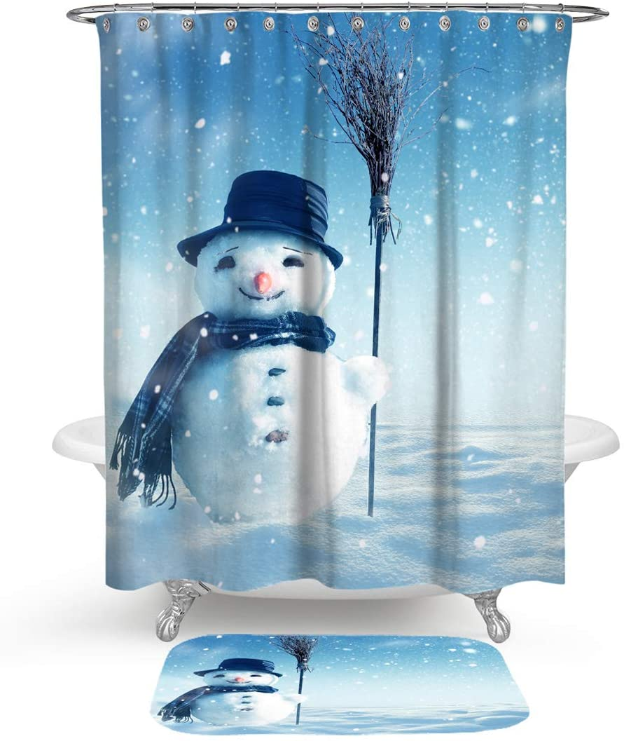 HMWR Christmas Smiling Snowman Shower Curtain Rug Bathroom Set,Winter Snowflake Water Resistant Fabric Shower Curtain with Soft Cotton Bath Floor Mat,Set of 2 Machine Washable,Blue