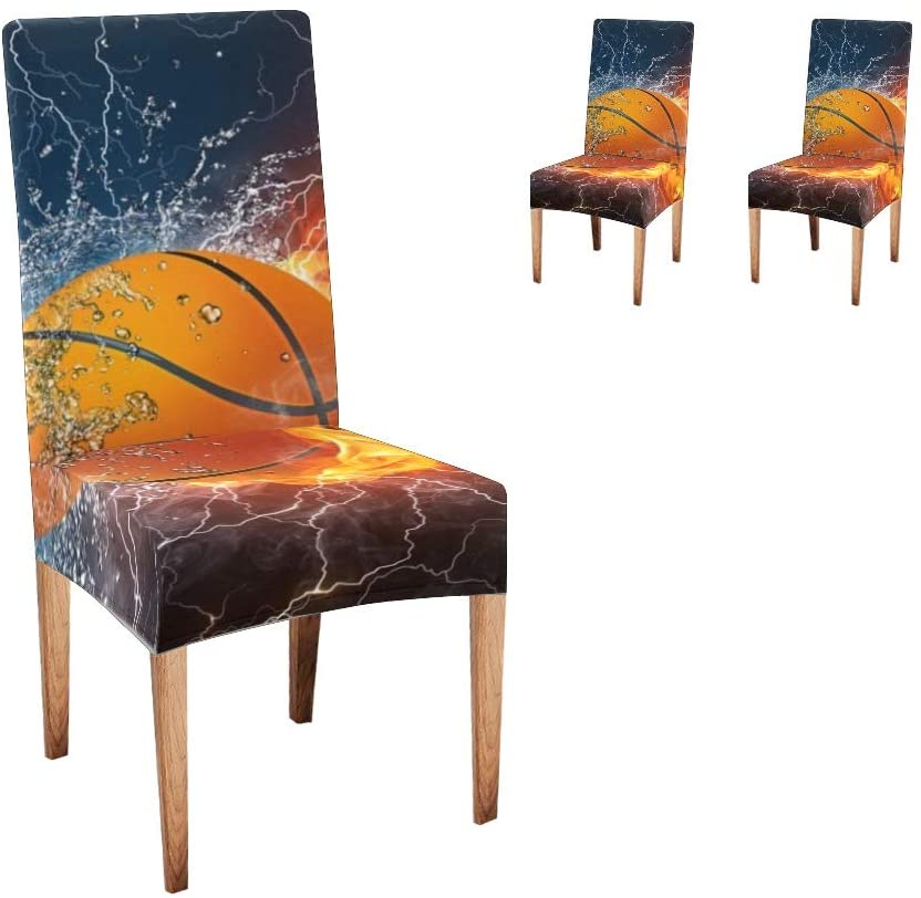 XIUCOO Custom Stretch Chair Covers Protector Basketball Fire Water Comfort Soft Seat Covers Slipcovers for Dining Room Party(Set of 2)