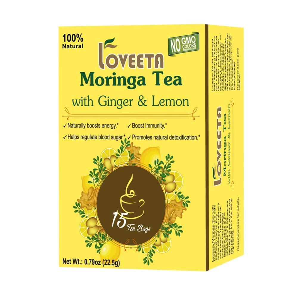 24 Pack Of Loveeta Wellness Moringa Tea Ginger & Lemon - 15 Tea Bags (Gmo Free, Gluten Free, Dairy Free, Sugar Free And 100% Natural)