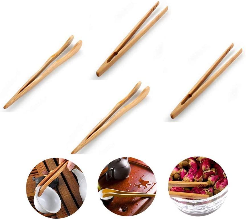 Bamboo Wood Tea Tongs Food Toast Bacon Sugar Tweezer Salad Clip Cooking Utensil New Kitchen Tool (4pcs)