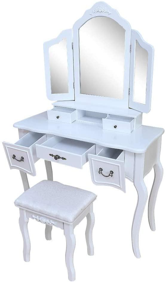 HOBBYN Vanity,Tri-fold Mirror Dresser & Cushioned Stool Vanity Desk Dressing Makeup Table Desk Organizer (White)