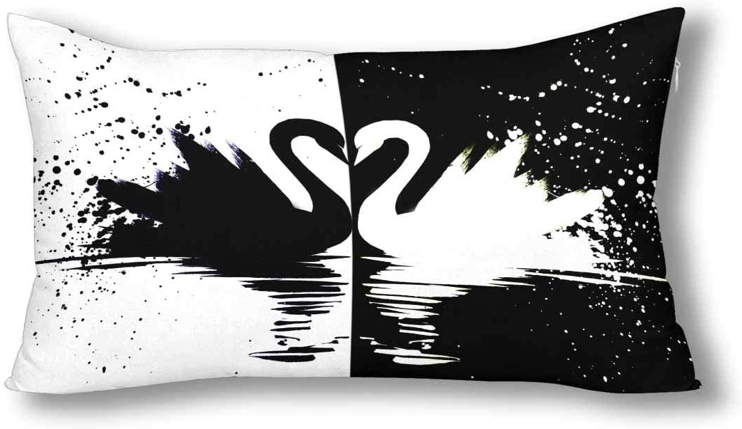 INTERESTPRINT Black ans White Swan Couple Cool Animal Pillowcase Pillow Case Protector with Zipper King Size 20x36 Inch, Decor Decorative Pillow Case Cover