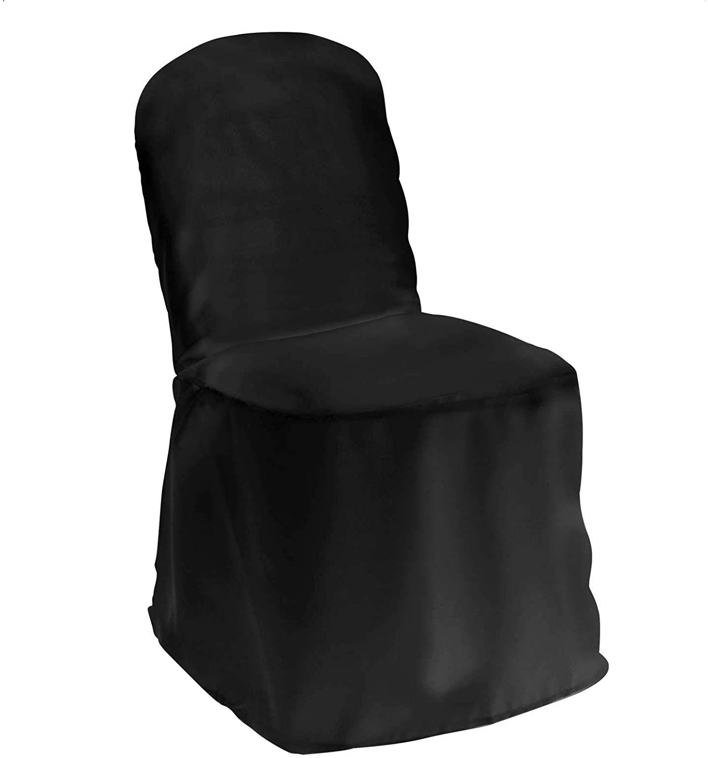 Lann's Linens - 10 Elegant Wedding/Party Banquet Chair Covers - Polyester Cloth - Black