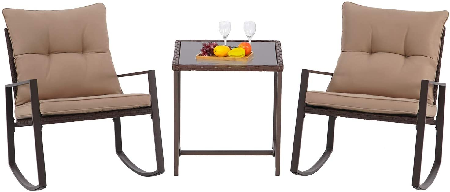 Crownland 3 Piece Patio Rocking Chair Outdoor Bistro Table Set Outdoor Wicker Patio Furniture Porch Chairs Conversation Sets with Glass Coffee Table, Brown