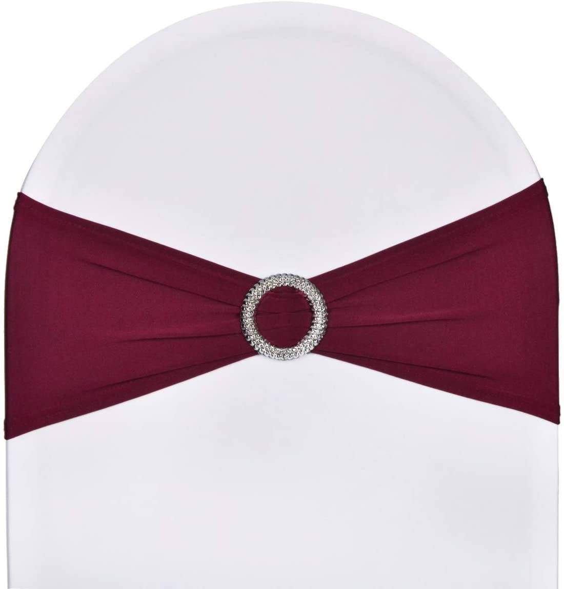 SweetEver Pack of 10 Stretch Spandex Chair Sashes for Wedding Party Banquet Decoration Elastic Bulk Chair Cover with Buckle Engagement Event Birthday Graduation Meeting Burgundy