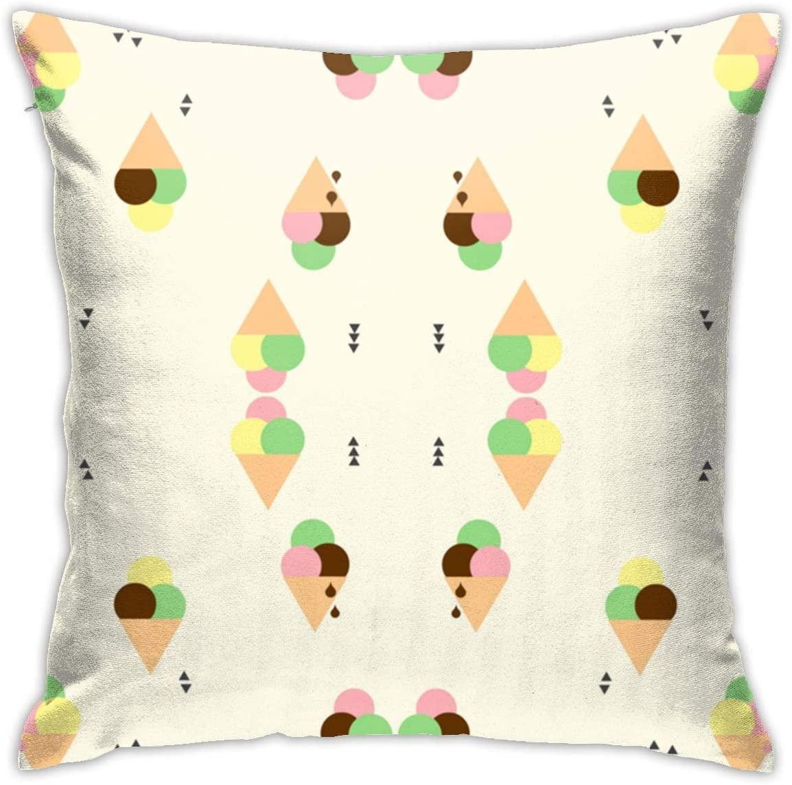 antkondnm Ice Cream Fabric (8328) Throw Pillow Cases Decorative Soft Square Throw Pillow Cover Cushion Case for Sofa