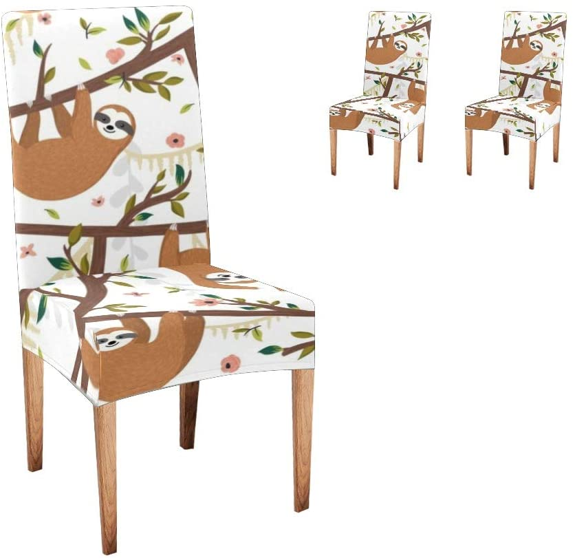 XIUCOO Custom Stretch Chair Covers Protector Tropical Sloths Tree Comfort Soft Seat Covers Slipcovers for Dining Room Party(Set of 2)