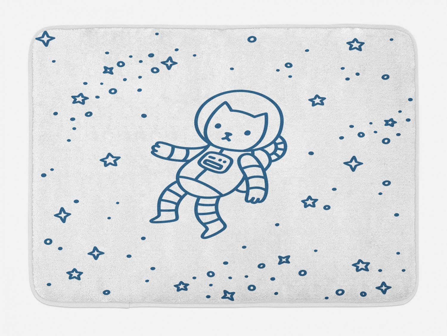 Ambesonne Cat Bath Mat, Cartoon Astronaut Pioneer Cat Flying in Outer Space Doodle Style Constellation, Plush Bathroom Decor Mat with Non Slip Backing, 29.5