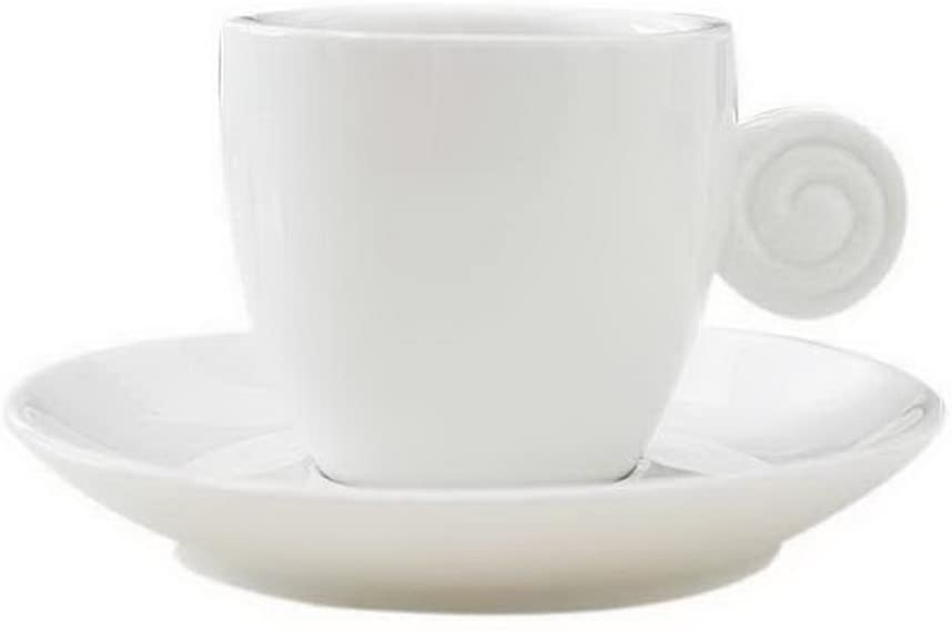 Gentle Meow Porcelain Matte Coffee Cup Saucer Set with Thread Cup Handle, White Espresso Cup