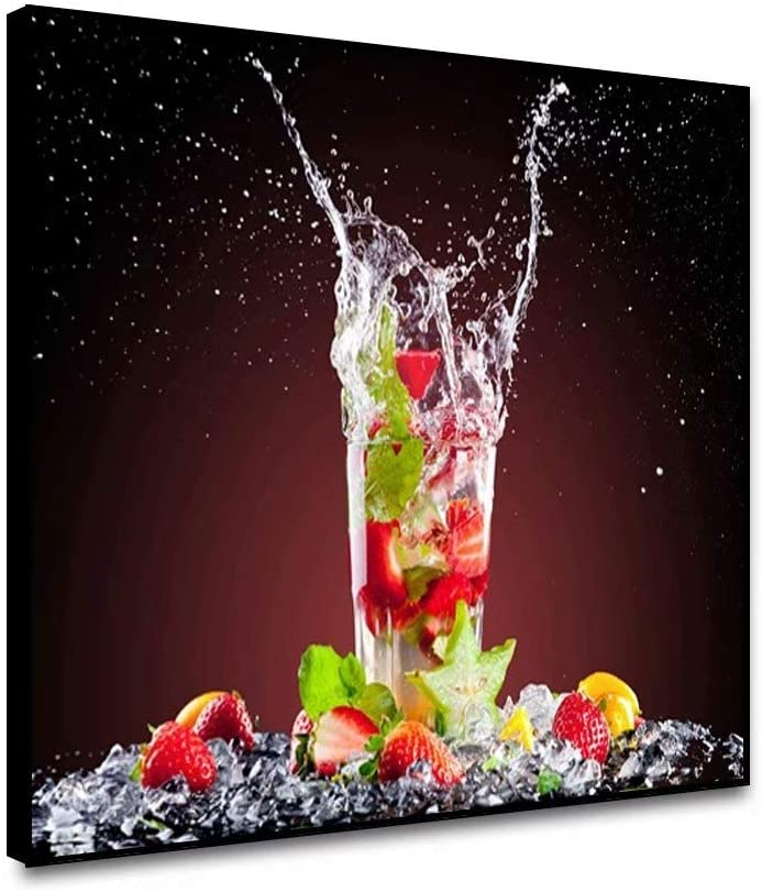 shensu Framed Canvas Wall Artwork Art Prints Kitchen Posters Strawberries Fruit Drink Glass Ice Cubes Wall Decor for Modern Dining Room Cafe Bar Restaurant Dining Hall Home Decoration 24x18inch
