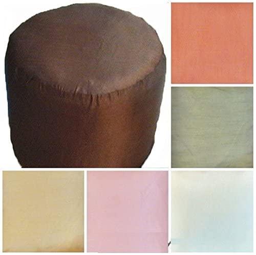 Foot Stool Ottoman Cover Pouf Round Furniture Pouffee Silk Floor Cushion Decor 16