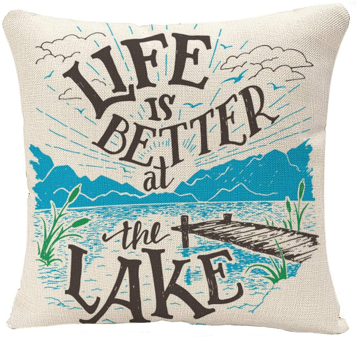 YGGQF Throw Pillow Cover Life is Better at The Lake House Sign in Vintage for Rustic Wall Lakeside Living Cabin Cottage Hand Decorative Pillow Case for Couch Sofa Bed Chair 18x18 Inch