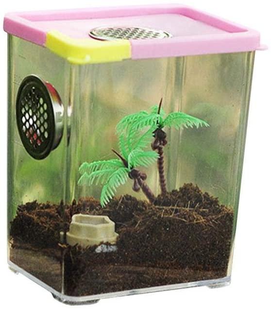 Kitcheb Acrylic Reptile Feeding Box - Reptile Breeding Box Clear Acrylic Reptile Terrarium Feeding Box for Spider Scorpion
