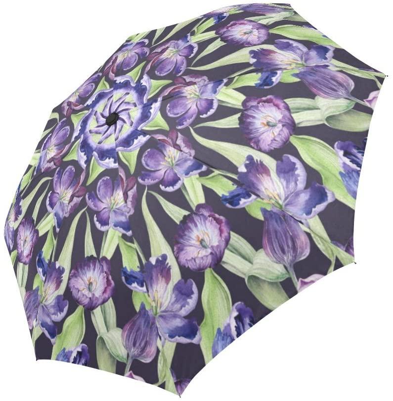 INTERESTPRINT Watercolor Violet Tulip Purple Blossom Flowers Windproof Automatic Open and Close Foldable Umbrella, Travel Compact Unbreakable Rain and Sun Umbrella
