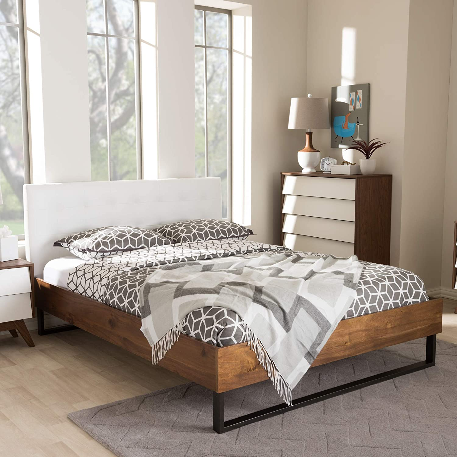 Baxton Studio Rustic Industrial Faux Leather Platform Bed in White (King: 86.42 in. L x 80.71 in. W x 40.35 in. H)