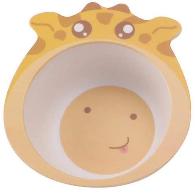 Chiatai Bamboo Fiber Kids Bowl,Toodler Baby's Dinner Cutlery Feeding Dish Bowl Cute Animal Shape Giraffe