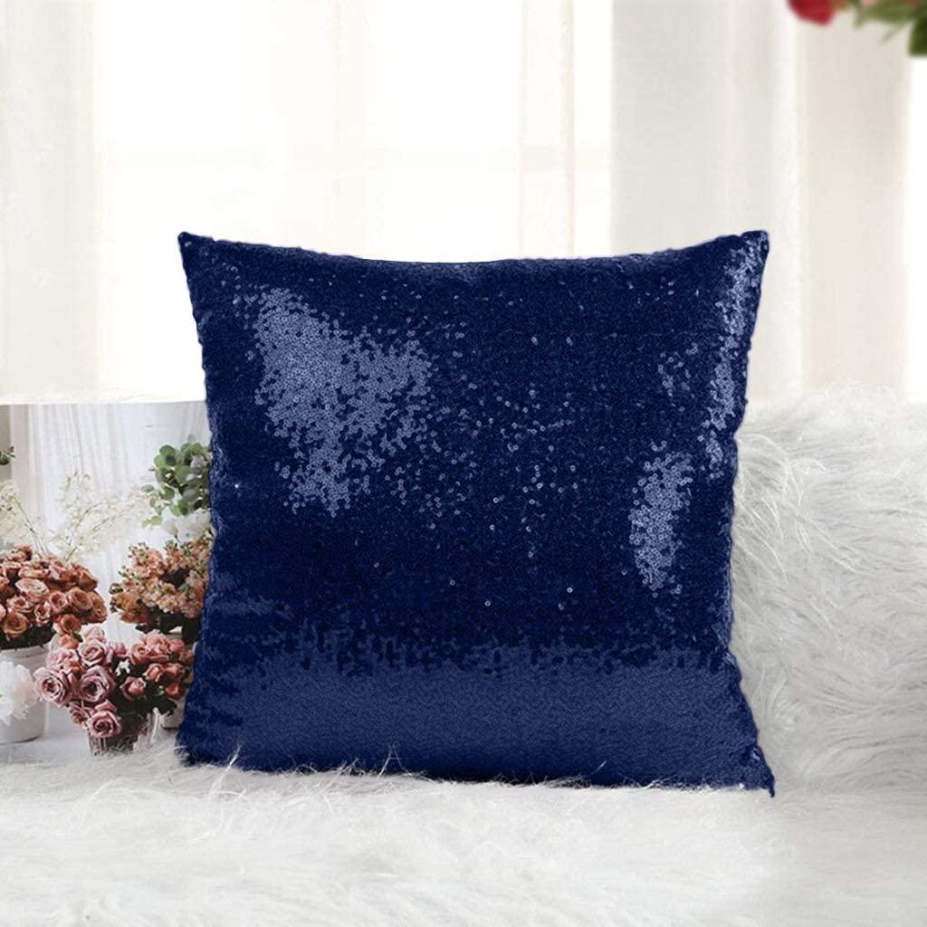 DUOBAO 18x18PillowCover Sequin Pillow Case ThrowPillows Sequin Pillow for Girls LittleMermaidPillow Case Home Decor SofaPillowsDecorativeFlipSequinPillowCase (18x18 Inch, Navy Blue)