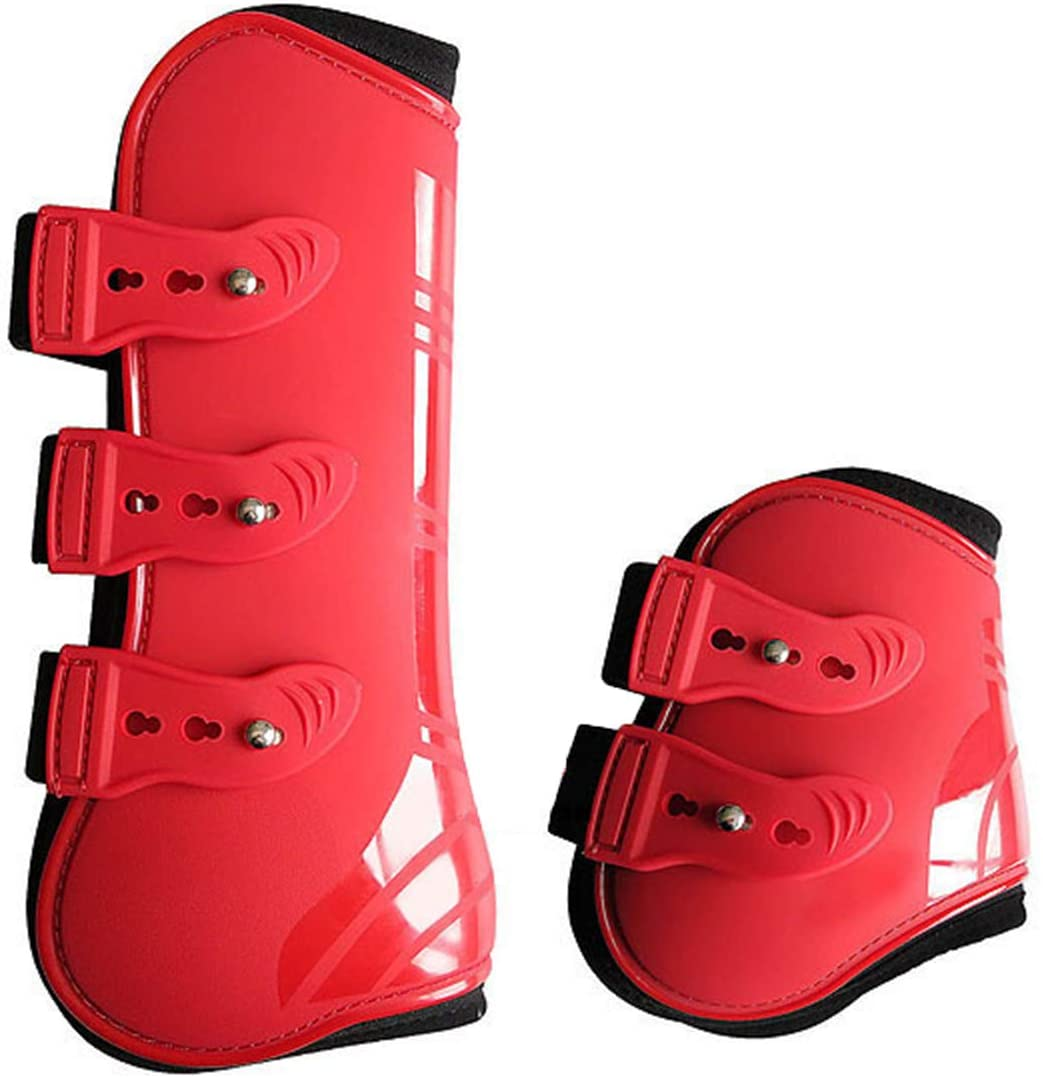 Owlike 4pcs/lot Horse Front Hind Leg Boots Adjustable Horse Leg Guard Protector for Equestrian Tendon Protection