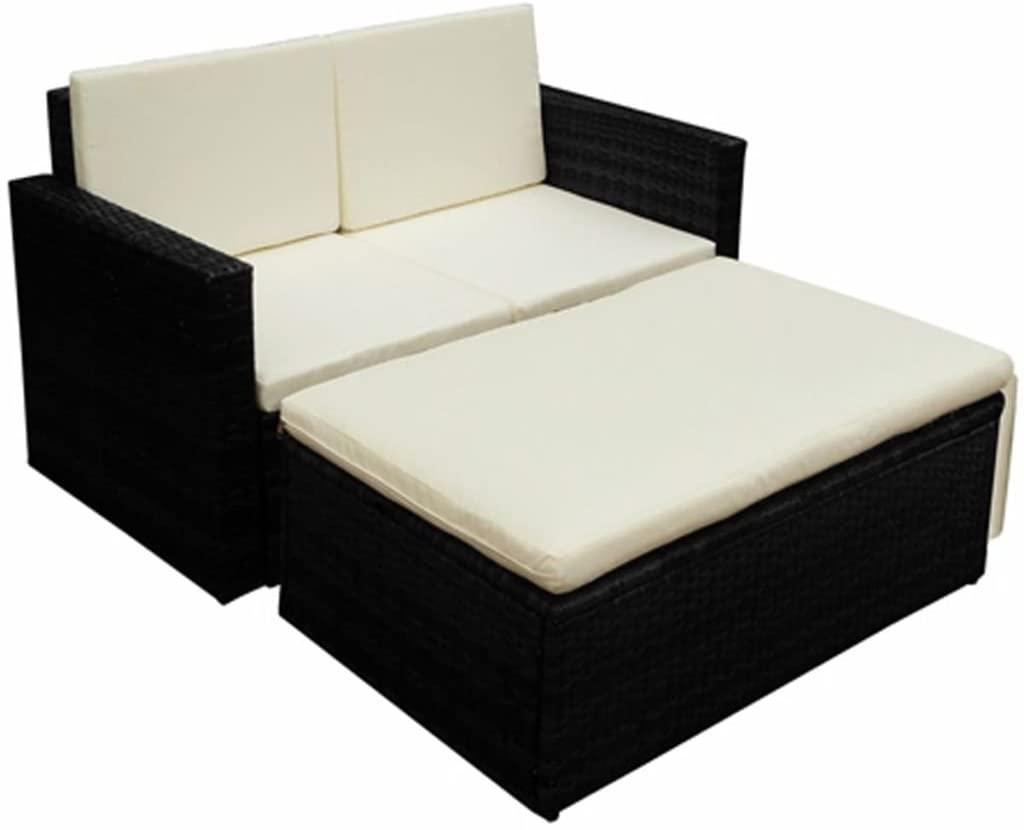 Tidyard 2 Piece Outdoor Lounge Set Single Sofa and Stool Set with Padded Cushion PE Black PE Rattan Sectional Converstion Set for Backyard, Patio, Balcony, Outdoor Furniture