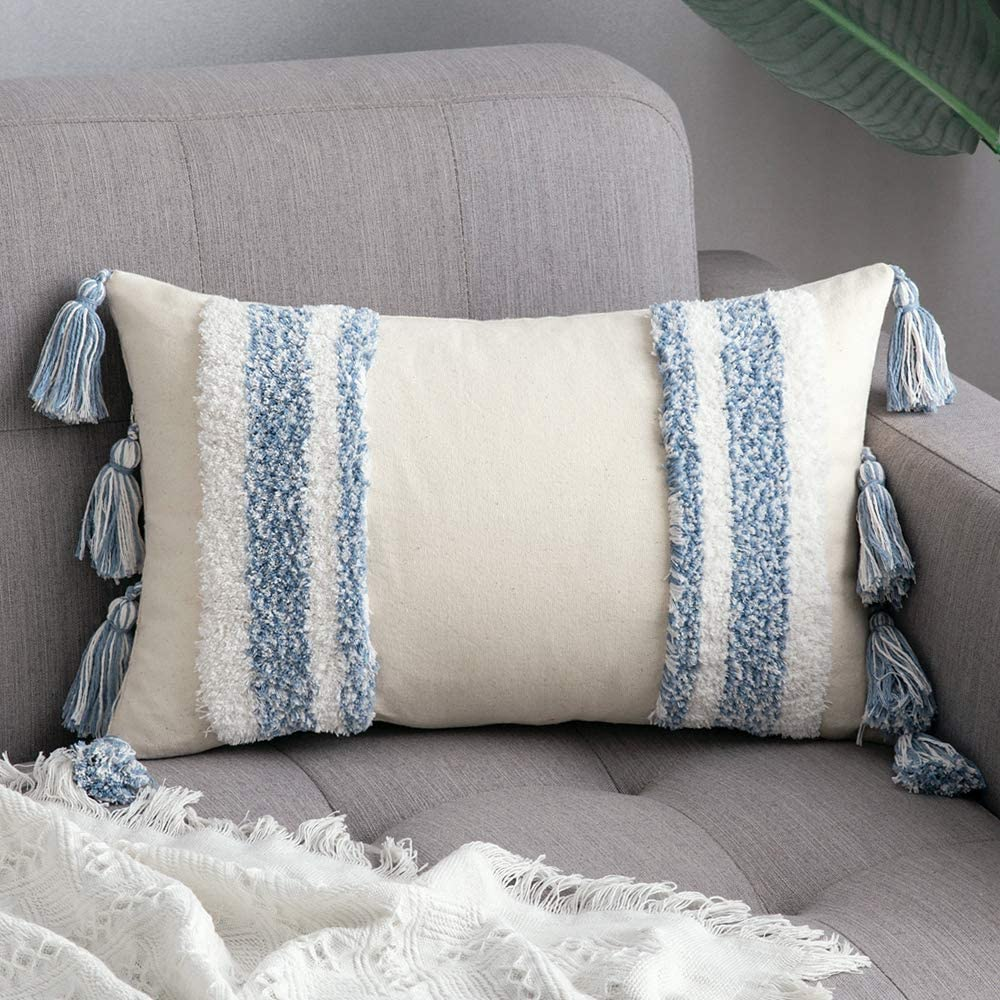 MIULEE Decorative Throw Pillow Cover Tribal Boho Woven Tufted Pillowcase with Tassels Soft Rectangle Pillow Sham Pillowcase Cushion Case for Sofa Couch Bedroom Car Living Room 12x20 Inch Light Blue
