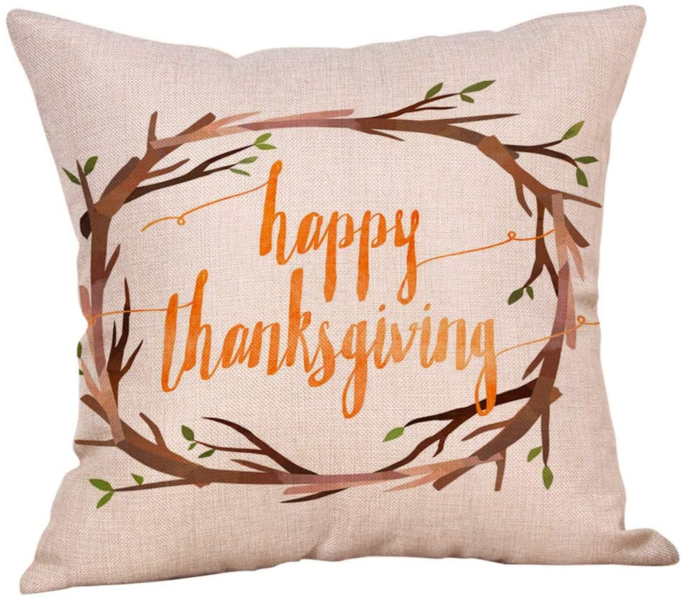 Fall Throw Pillow Covers 18x18 Inches Pumpkin Thanksgiving Farmhouse Decorative Autumn Pillowcase Cotton Linen Cushion Case for Home Decor Halloween Stickers Scary Pillowcover Thanksgiving Stickers