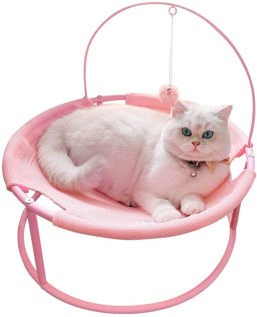 SAVFOX Luxury Indoor Cat Bed & Hammock Pet Lounge Spot with Dangling Ball & Metal Stand, Comfortable, Detachable, Washable - Pink & Beige