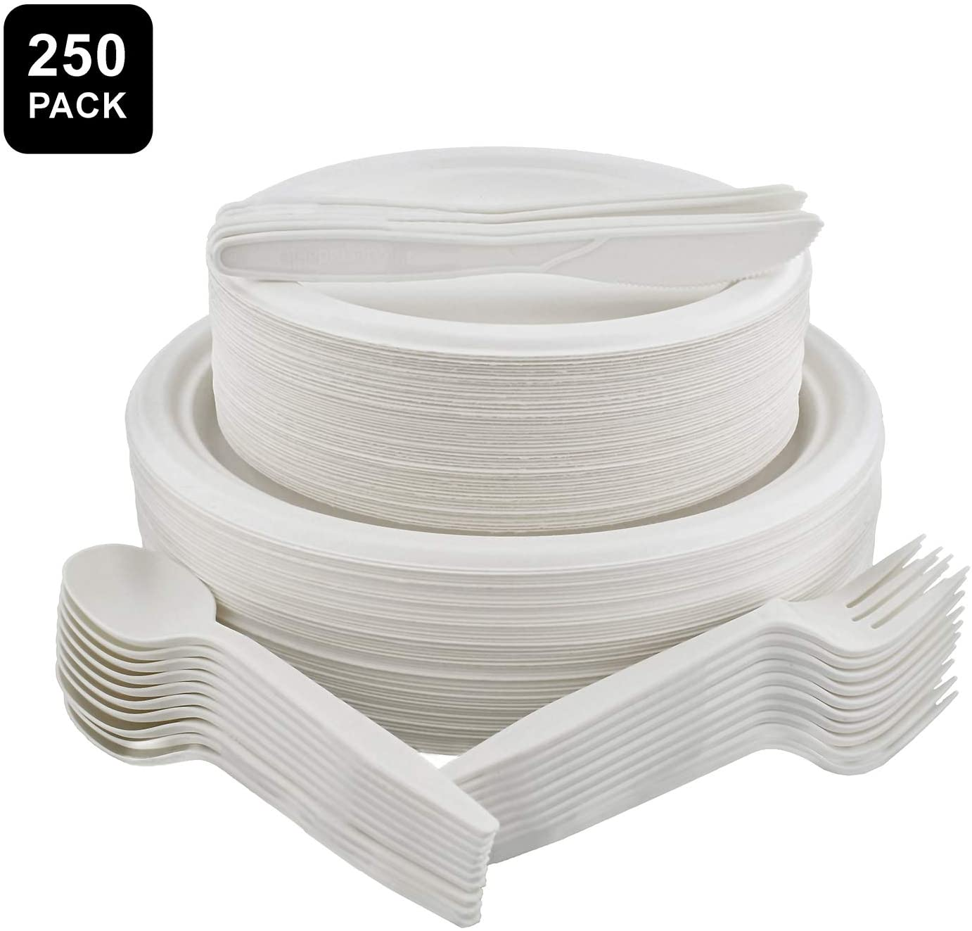 Spec101 Disposable Dinnerware Set 250pc for 50 Guests, Bright White, Sugarcane Disposable Plates and Utensils Bulk Kit